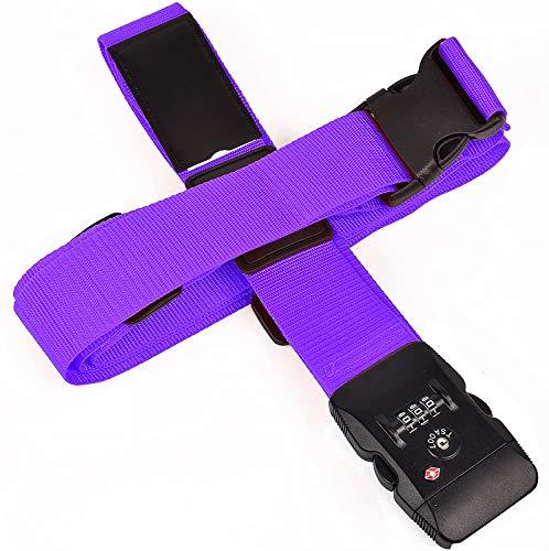 EKISHOP(エキショップ) スーツケースベルト TSAロック搭載 十字型 純色 ラゲッジベルト ワンタッチ式 長さ調整可 ネームタグ付き 盗難防止 出張 海外旅行の必須アイテム 7色 (紫)