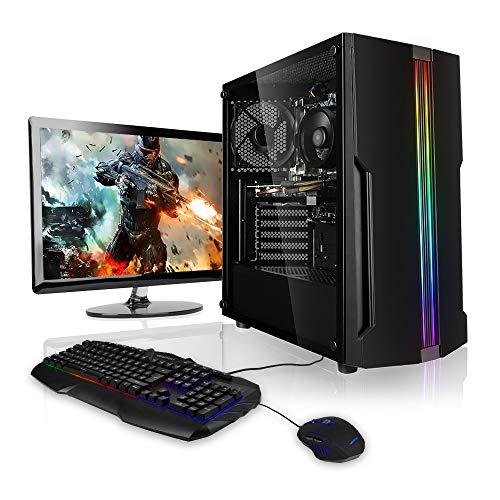 """Megaport Super Méga Pack Rampage - Unité Centrale PC Gamer Complet • Ecran LED 24"""" • Clavier et Souris Gamer • AMD Ryzen 3 3100 4 x 3600 MHz • nvidia GeForce GTX1050Ti • 8Go • 1To"""