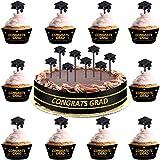 100 Pieces Plastic Graduation Picks Graduation Cap Cupcake Toppers Graduation Food Toothpick Toppers Appetizer Picks for Graduation Party Cocktails Appetizers Fruits Dessert