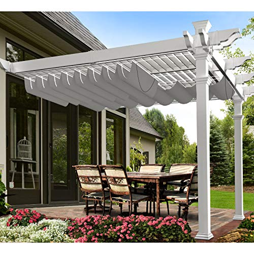 E&K 4'Wx16'L Light Grey Waterproof Retractable Shade Cover for Pergola Canopy Slide on Wire Hung Canopy Wave Shade Sail Awning for Wood Pergola Patio Deck