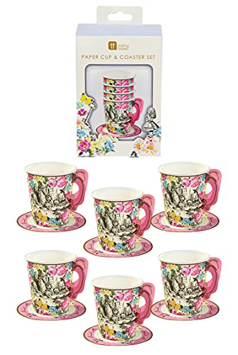 Talking Tables Alice In Wonderland Party Supplies   Tea Cups And Saucer Sets   Great For Mad Hatter Tea Party, Birthday Party And Baby Shower   Paper, 12 Pack Multicolor