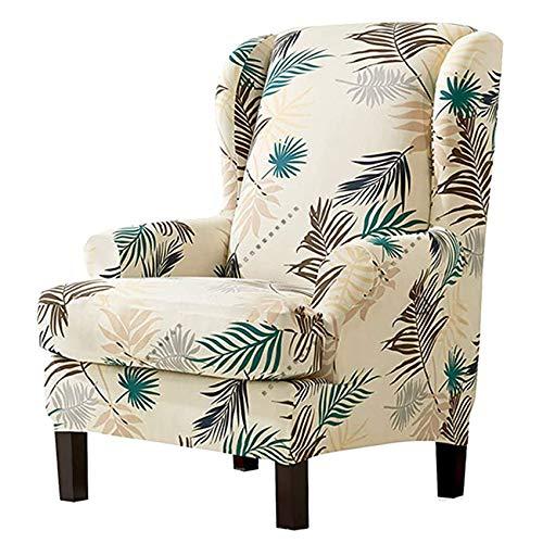 YWTT Funda para sillón de Orejas elástico 2 Piezas Fundas de sillón de Orejas elásticas, Fundas de sillón de Orejas Fundas de sofá, Hojas Impresas Fundas de sillón de Orejas de fácil Ajuste