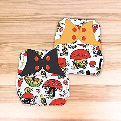 Doodles Collection: bumGenius Freetime All-in-One One-Size Snap Closure Cloth Diaper (SHROOMazing)