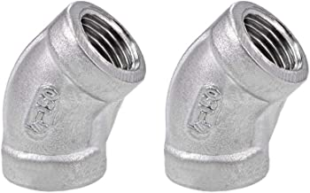 uxcell 304 Cast Stainless Steel Pipe Fitting - 45 Degree Elbow G1/4 Female 32mm Length 2pcs