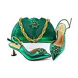 Juego de zapatos y bolsos de boda de color plateado para mujer nigeriana a juego con zapatos y bolsos africanos para fiesta, color Verde, talla 40 EU
