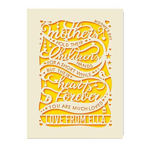 EDSG Personalisierte Muttertagskarte (englischsprachig), Laser-Papierschnitt mit Schleife, personalisierbar, mit Umschlägen, personalisierbar gold
