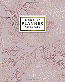Monthly Planner 2020-2024: Pretty Rose Gold Leaves Five Year Monthly Schedule Agenda & Organizer with Inspirational Quotes - 5 Year Calendar with Spread View, To-Do's, Holidays, Vision Board & Notes