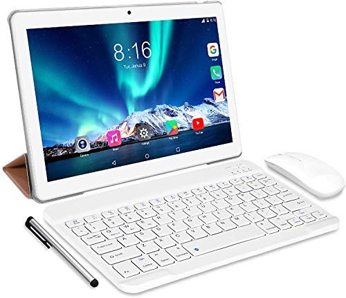 Tablet 10 Inch 8 Core - TOSCIDO Android 10.0 Certified by Google GMS 4G LTE Tablets, 4GB of RAM and 64 GB, Dual SIM, GPS, WiFi, Bluetooth Keyboard,Mouse,Tablet Case and More Included - Silver