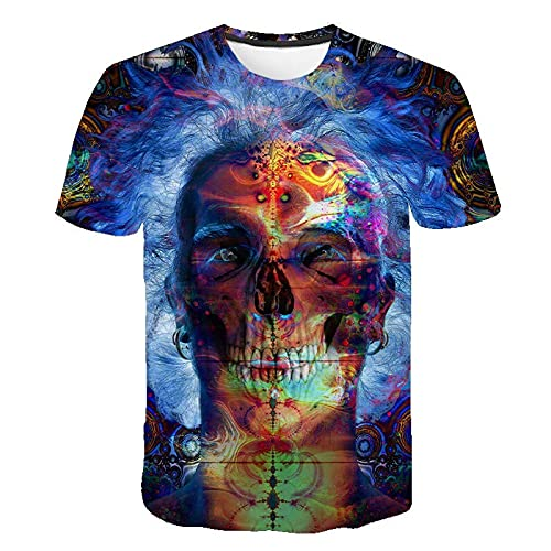 Camiseta de Calavera para Hombre con Calavera de Manga Corta para niños 3XL