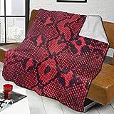 Ahdyr Mantas de Tiro Manta de Franela Sherpa Reversible de Piel de Serpiente roja Mantas de Microfibra de Felpa Suave y difusa para sofá Cama sofá