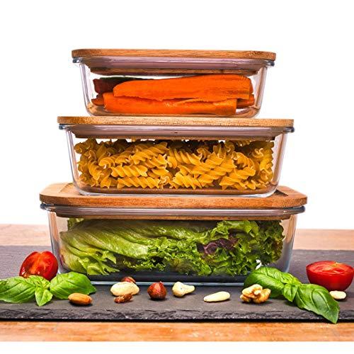 COMFY Vorratsdosen aus Glas | 3-teilig Groß| Holzdeckel | luftdicht | stapelbar | Lebensmittelaufbewahrung Küche| Nudeln, Reis, Salat, Joghurt, Müsli | Spülmaschinenfest | 1500ml/1000ml/650ml