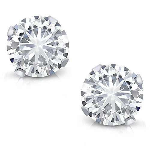 14K White Gold Stud Earrings Set Round Forever Classic Faint Color 0.66 ct (DEW) Created Moissanite from Charles & Colvard