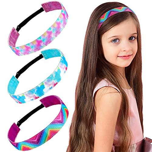 3 Pieces Tie Dye Elastic Headbands Stretch Tie Dye Girl Headband Rainbow Sport Hair Band Non Slip Colorful Headband Adjustable Hair Band Hair Accessories for Girls Parties Birthday Hair Styling