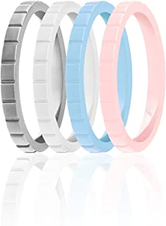 ROQ Silicone Wedding Ring for Women, Set of 4 Thin Stackable Silicone Rubber Wedding Bands Lines - Powder Pink, Sky Blue, ...