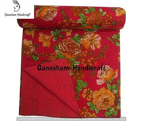 Couvre-lit Kantha vintage floral - Pour lit queen size - Fait à la main - Literie bohémienne - Couvre-lit pour enfants - Couverture de canapé - Literie indienne