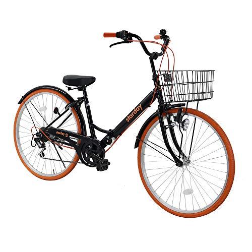 折りたたみシティサイクル 折りたたみ自転車 シマノ製6段変速 26インチ 前カゴ付き 自転車 ダイナモライト付き 後輪サークル錠 折畳機能付 シティサイクル ブラック*オレンジ SY-20BKOR