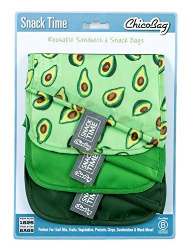 Chicobag RePETe Snack Time Snack & Sandwichbeutel, umweltfreundlich, wasser- und fleckenabweisend, 3 Farben Set avocado