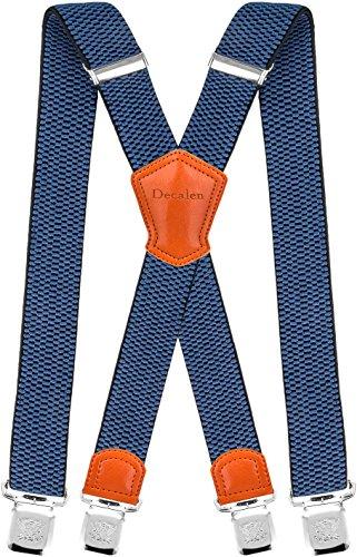 Decalen Hosenträger für Herren Breit 4 cm mit sehr Starken 4 Metall Clip Lang Einheitsgröße für Männer und Damen Einstellbar und Elastisch X Style (Blau 1)