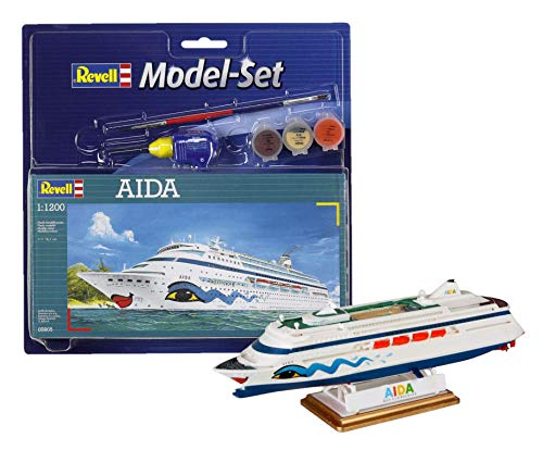 Revell Modellbausatz Schiff 1:1200 - AIDA im Maßstab 1:1200, Level 3, originalgetreue Nachbildung mit vielen Details, Kreuzfahrtschiff, Model Set mit Basiszubehör, 65805