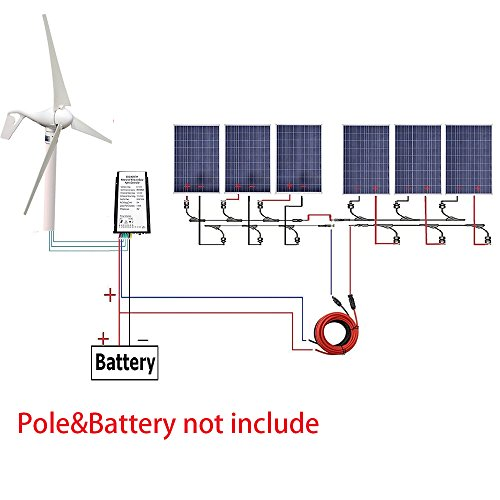 ECOWORTHY 24V 1 KW Off-Gitter Wind-Solarsystem: 1 Stück 12V 24V 400W Windturbinen-Generator + 6 Stück 12V 100W Polykristallines Solarpanel + 4 Paar Y-Zweige MC4-Anschlüsse + 1 Paar 4,6 m Solarkabel