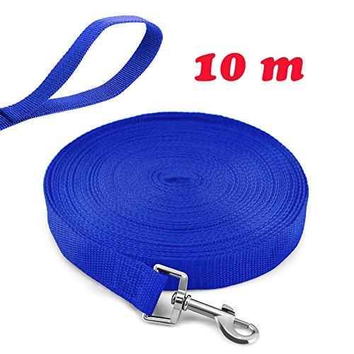 Ploopy Correa de Adiestramiento para Perros, Correa 10 Metros de Rastreo para Perro Ideal Paseo o Amarre (10m, Azul)