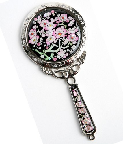 Douchette à main Miroir, un cadeau fait à la main Mother Of Pearl, Cherry Blossom