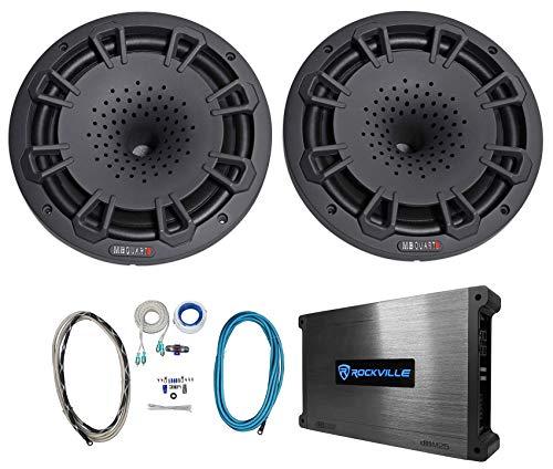 "Pair MB Quart NH1-120B 8"" 360w Marine Boat Speakers+2-Channel Amplifier+Amp Kit"