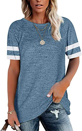 HUUSA Womens Short Sleeve T Shirts Casual Loose Fit Tunic Tops Crewneck Summer Fashion 2021 Color Block Soft Comfy Trendy Tee Shirts Blouses for Work Ladies Teen Girls Light Blue Large