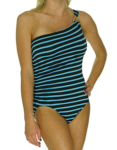 Michael Kors Striped One-Shoulder One-Piece Swimsuit Heritage/Black 4