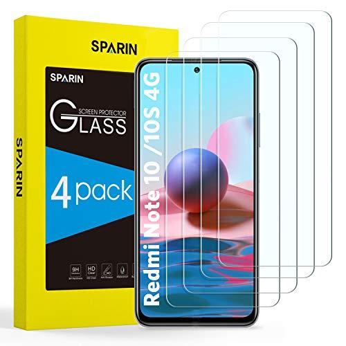 SPARIN 4 Stück Panzerglas Schutzfolie Kompatibel mit Xiaomi Redmi Note 10 / Xiaomi Redmi Note 10S (4G, 6.43 Zoll), Bildschirmschutz Folie, 9H Festigkeit