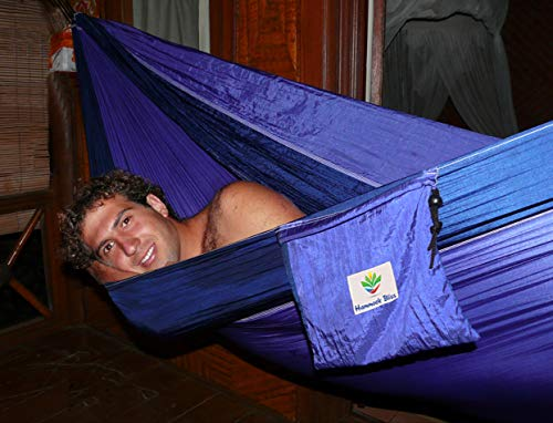 Hammock Bliss Double - Extra Large Portable Hammock - Ideal for Camping, Backpacking, Kayaking and Travel - Suspension System Included - Quality You Can Trust (Purple/Blue)