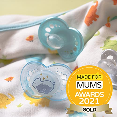 MAM Night Soothers 6+ Months (Pack of 2), Glow in the Dark Baby Soothers with Self Sterilising Travel Case, Newborn Essentials, Blue, (Designs May Vary)