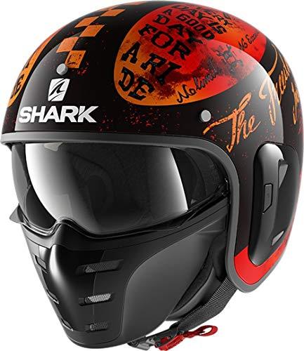 Casco moto Shark S-DRAK 2 TRIPP IN KOO, Nero/Oroange, L