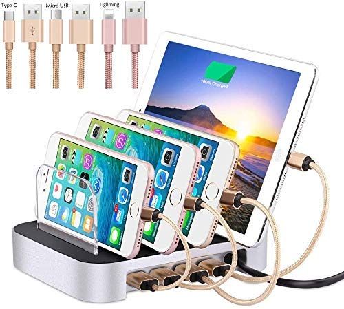 Silver Multi Charging Station, 4 Port USB Charger for Multiple Device with Adjustable Dividers, Organizer Stand,for iPhone/IPad/Tablet/Samsung and More