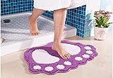 Alfombra de baño ParaCity con dibujo de pies grandes, absorbente y antideslizante, Morado, 48*67CM