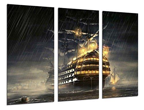 Wandbild - Altes Segelschiff, Caravel, Krieg, 97 x 62 cm, Holzdruck - XXL Format - Kunstdruck, ref.26500