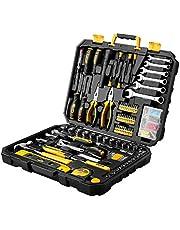 DEKOPRO Tool Set General Household Hand Tool Kit with Plastic ToolBox Storage Case