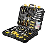 DEKOPRO 208 Piece Tool Set,General Household Hand Tool Kit with Plastic Toolbox Storage Case