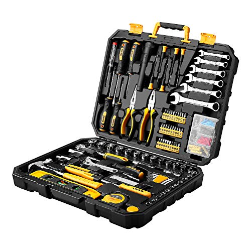 DEKOPRO 258 Piece Tool Kit with Rolling Tool Box Socket...