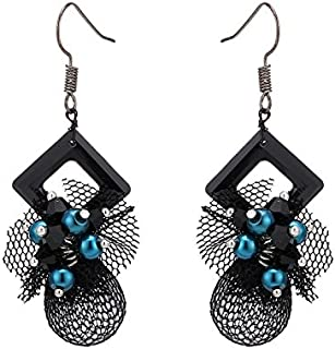 Gli orecchini in ottone colore argento pietre bianche in tessuto nero rombo Perline blu punta in fibra