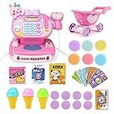 iVansa Kasse Kaufladen Kinder Registrierkasse mit Elektronischem Scanner Rollenspiel Spielzeug für Kinder ab 3 4 5 Jahren, 31 Stück