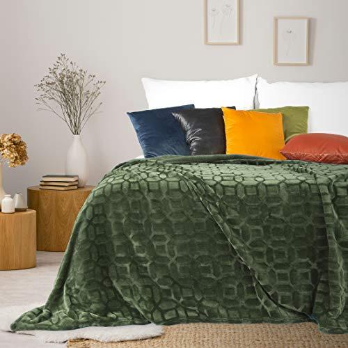 Eurofirany – Manta con patrón geométrico, Manta para sofá, Manta para Cama, Dormitorio, salón, acogedora, Verde Oliva, 150 x 200 cm