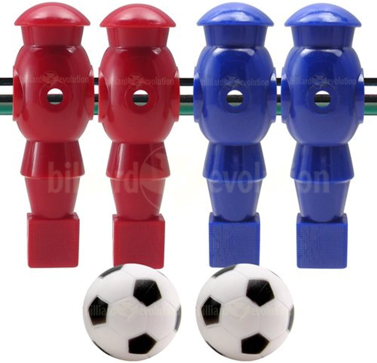 4 Red and blueee Robotic Foosball Men and 2 Soccer Balls