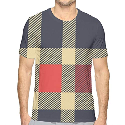 3D Printed T Shirts,Vintage Plaid Scottish Tartan Pattern with Retro Display Checks Lines,Mens Casual Short Sleeve Fashion Summer T-Shirt,Size:XXL