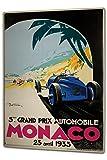 Blechschild XXL Nostalgie Auto Retro Rennen Monaco