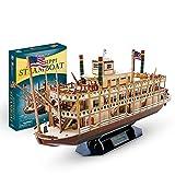 XIAOMING 3D Tridimensional Rompecabezas Ensamblado Modelo Barco De Juguete Modelo Mississippi Steamboat Creative Kids