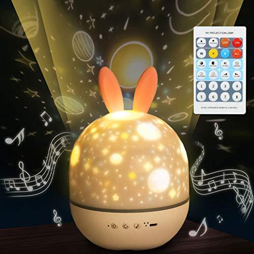 Proyector De Luz Nocturna para Niños, Proyector De Estrellas con Música, Lámpara De Noche Giratoria con Control Remoto Y 6 Escenas De Proyección