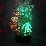3D LED Night Light RGB Dual Color Lamp Marvel Legend Black Panther Iron Man Spider Man Night Stand Desk Table Lamp Children Kid Gift
