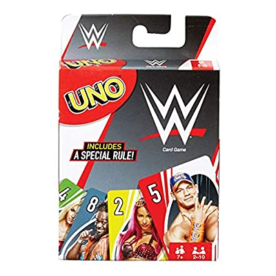 UNO Card Game, Matching WWE Superstars, for 2 to 10 Players Ages 7 Years and Older, Model Number: FNC47 from Mattel