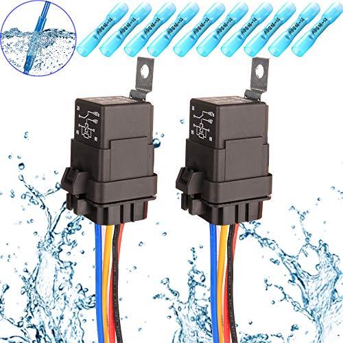 Preisvergleich Produktbild Gebildet 2pcs 40 / 30A 12V Wasserdichtes Relais-Kabelsatz-Set-5-PIN-SPDT-Relais im Bosch-Stil mit Robuster 16AWG 14AWG-Kabel+10pcs Blauer Hotmelt-Steckverbinder